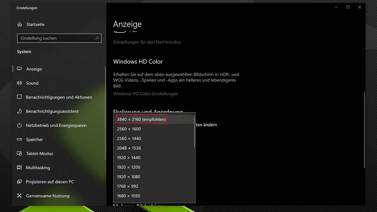 Auflösung auf 4K einstellen Windows 10