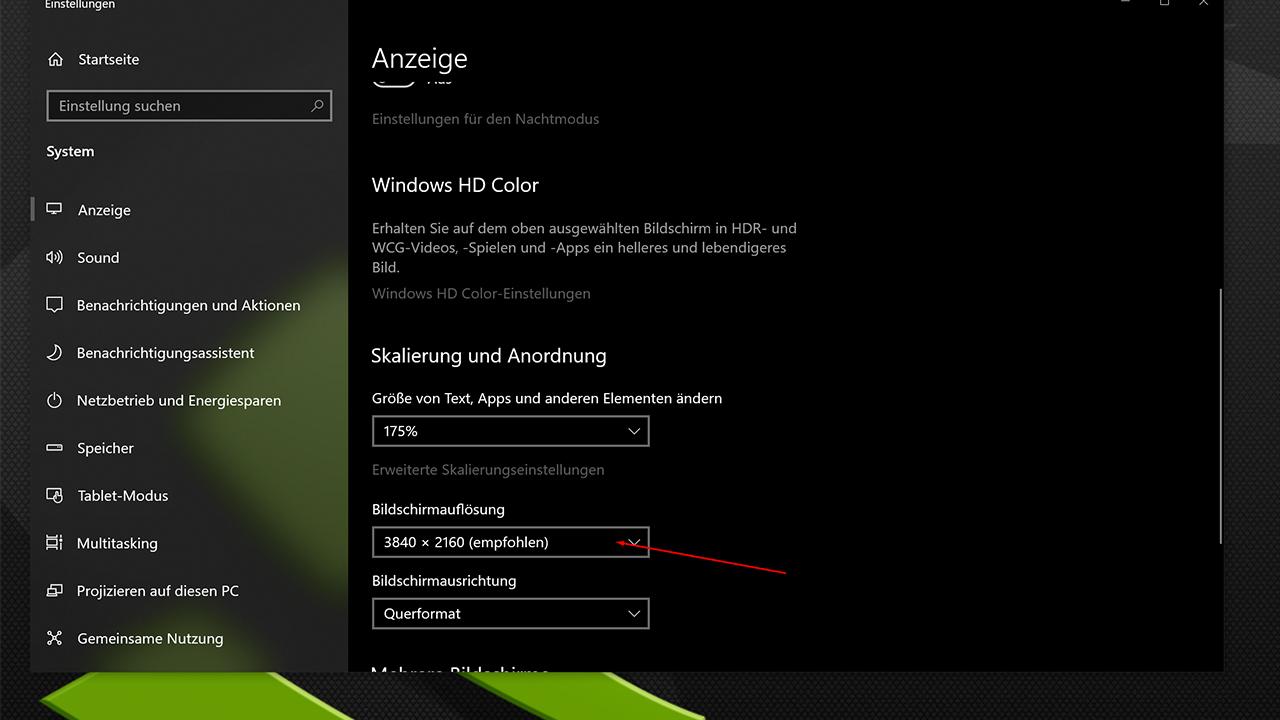 4K Monitor Auflösung einstellen Win 10 - Bildschirmauflösung