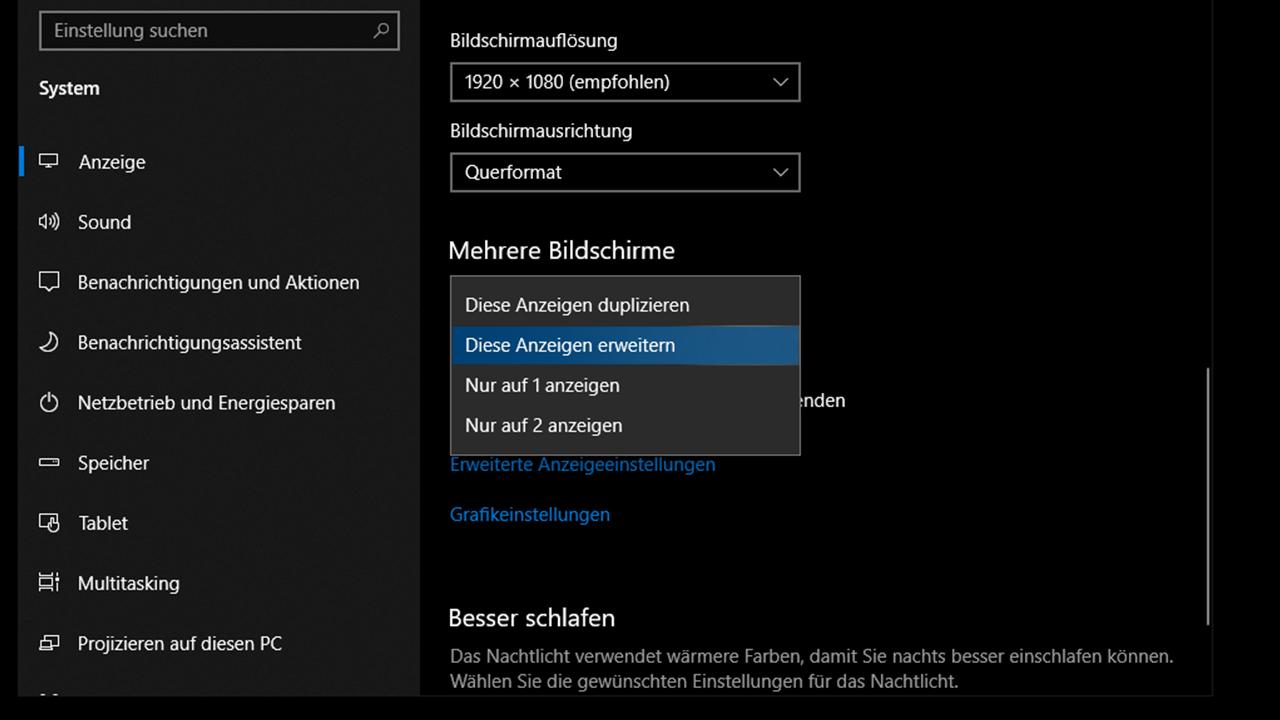 Fernseher Windows 10 Anzeige erweitern oder duplizieren