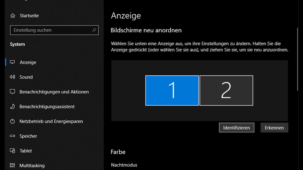 TV als PC-Monitor Windows 10 - Anzeige ggf. identifizieren