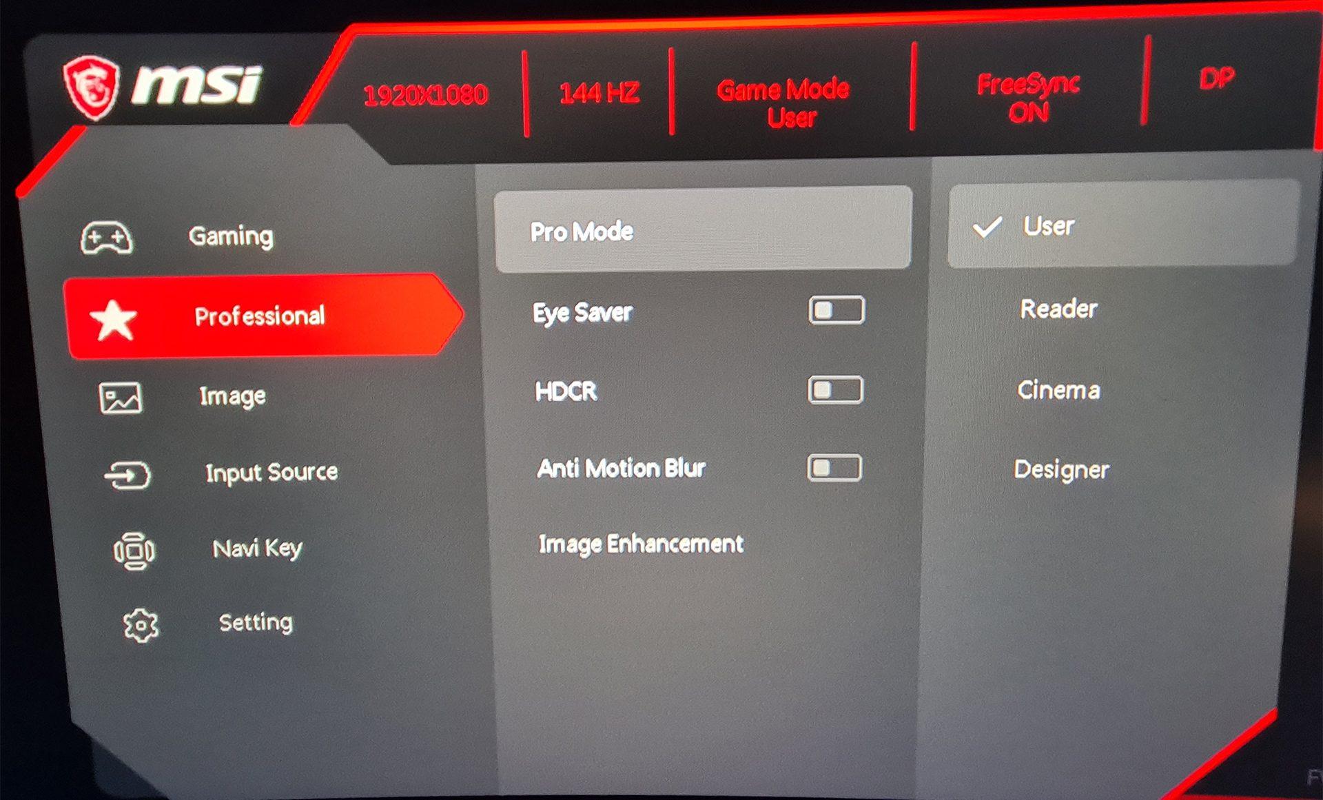 MSI Optix MAG271CR - Interface