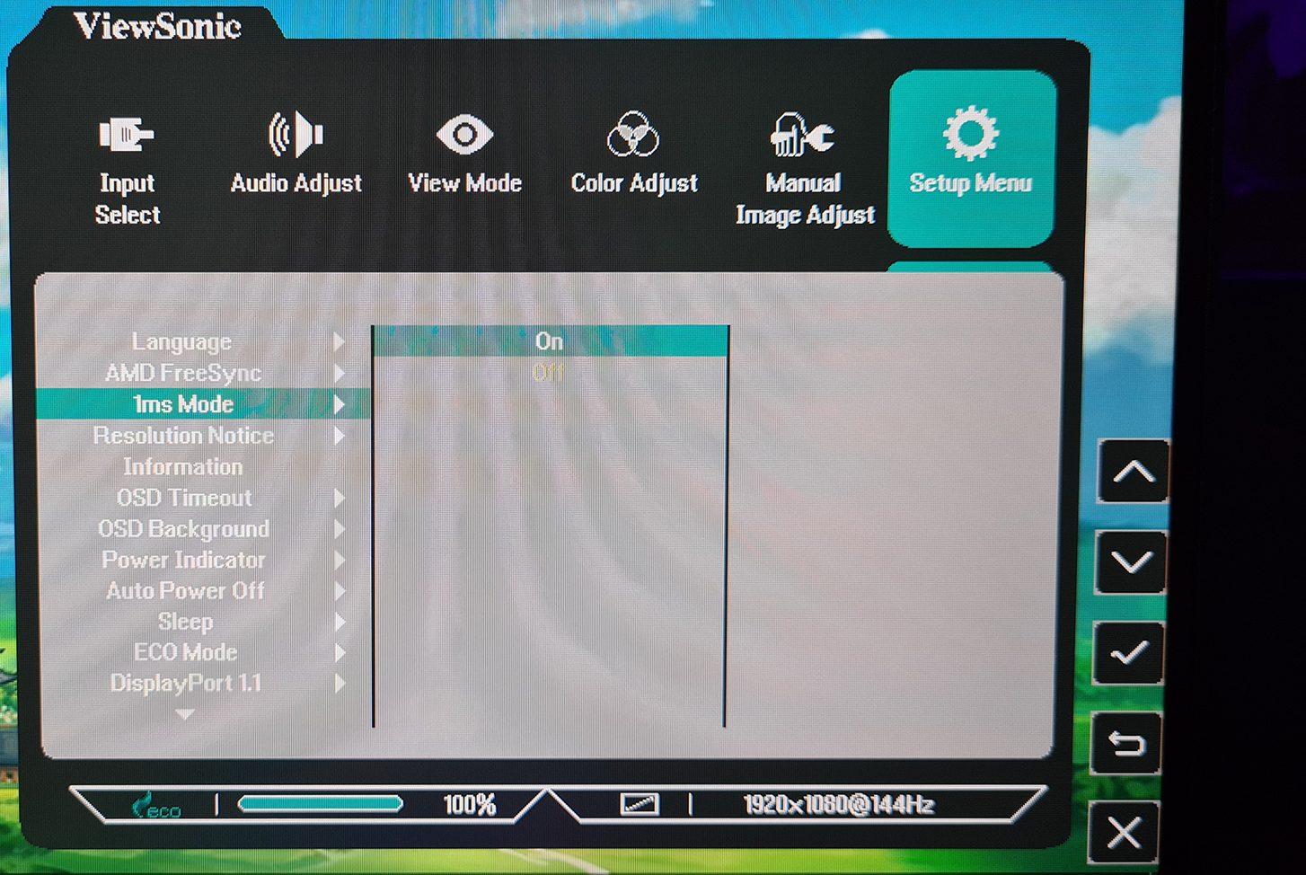 Viewsonic XG2405 - Menü Interface