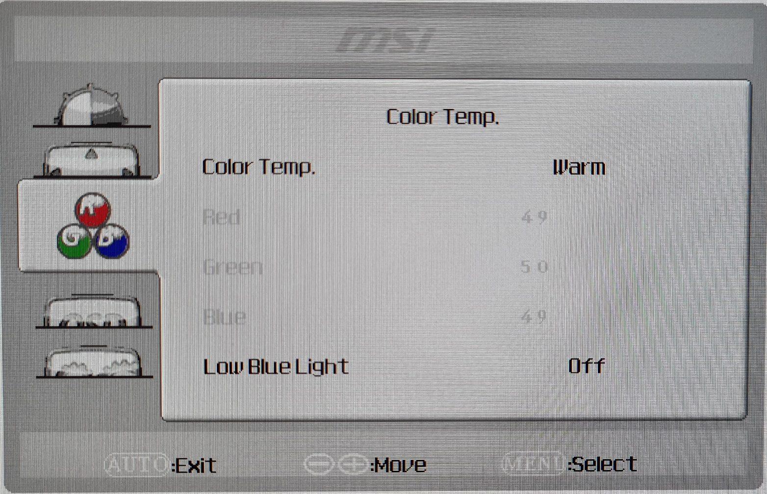 MSI PRO MP271QP - Foto von OSD 3