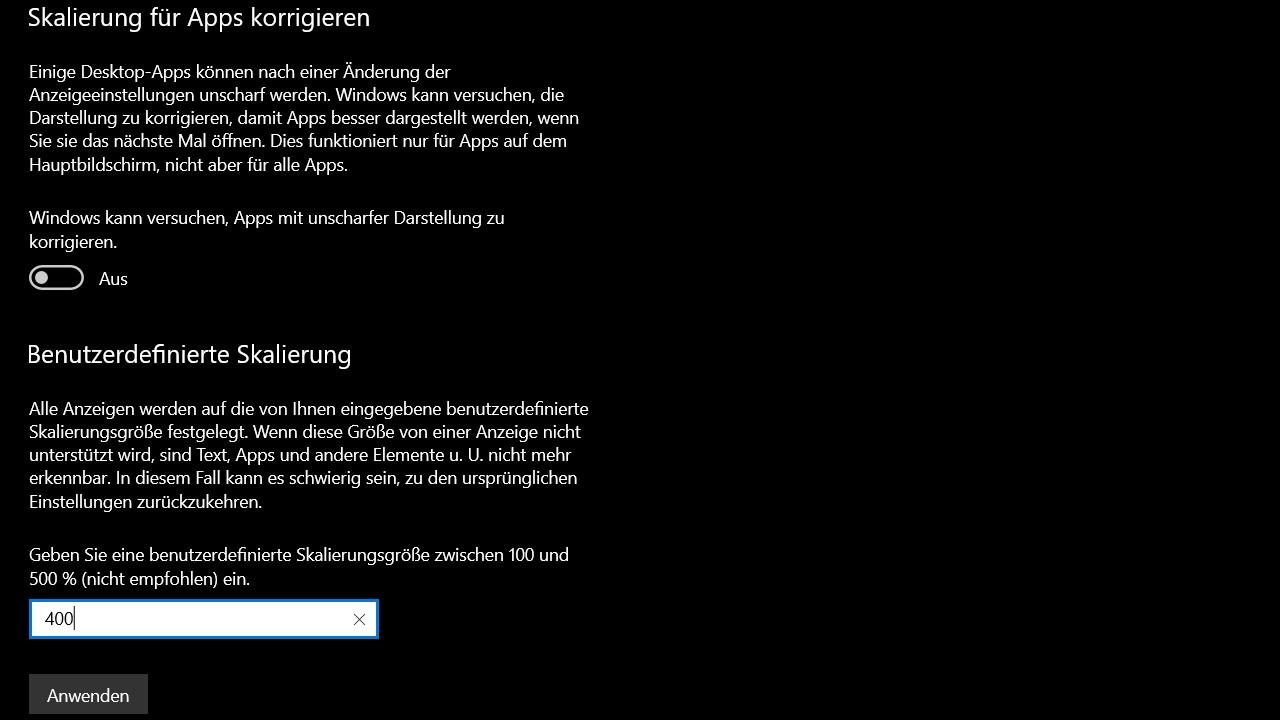 Benutzerdefinierte Skalierung Windows 10