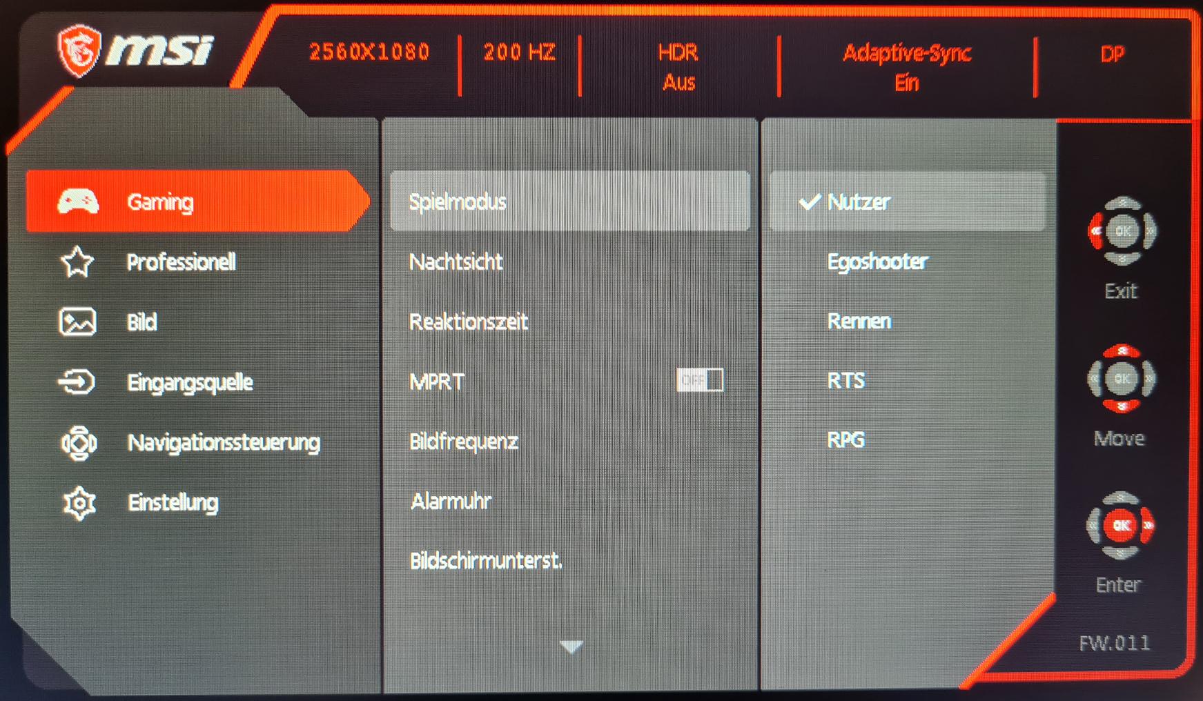MSI Optix MAG301RF OSD
