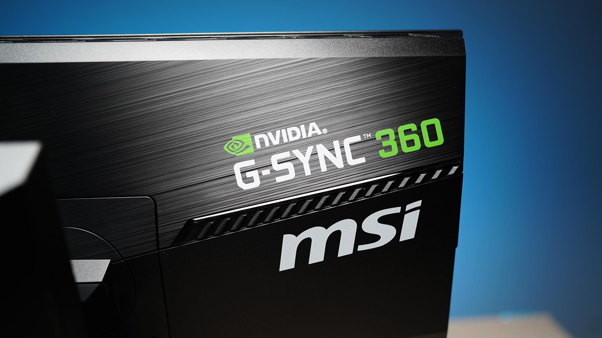 MSI Oculux NXG253R - Design MSI Nvidia G-Sync 360 Logo