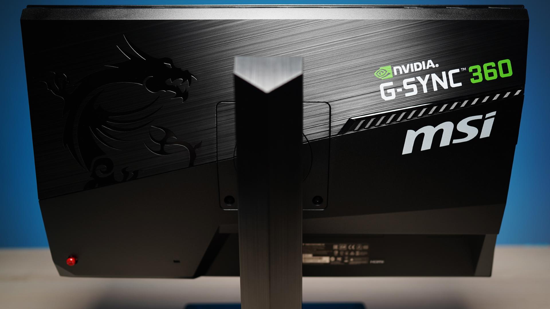 MSI Oculux NXG253R - Rückseite und Monitor-Standbein